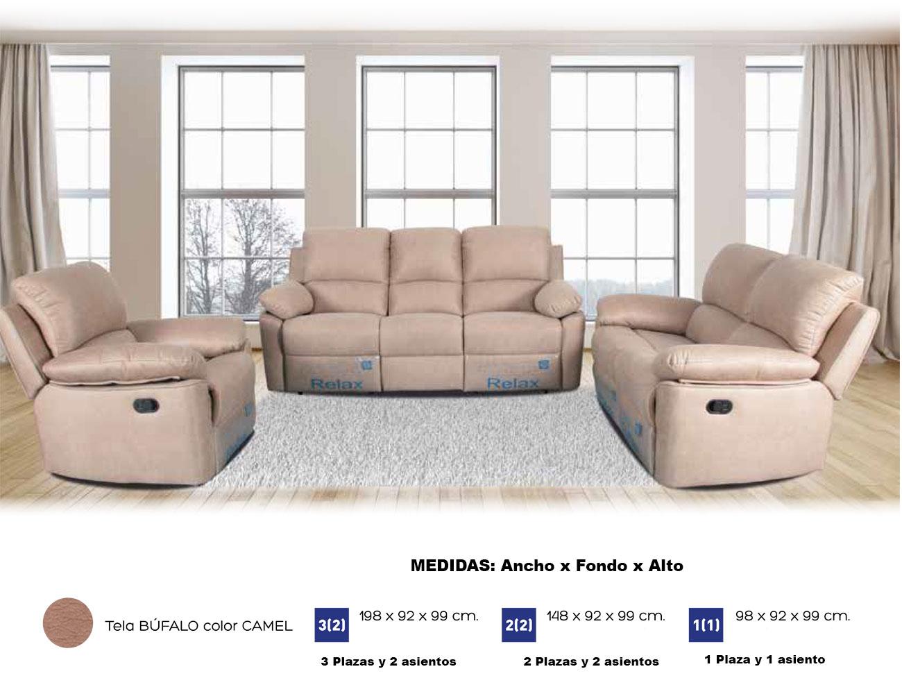 Sof de 3 plazas con dos asientos relax y con muelles for Sofa 2 plazas polipiel