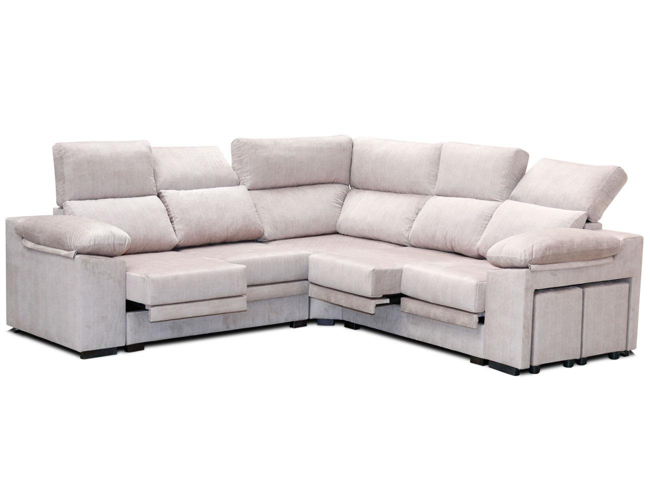 Sofa rincon rinconera beig pufs 1