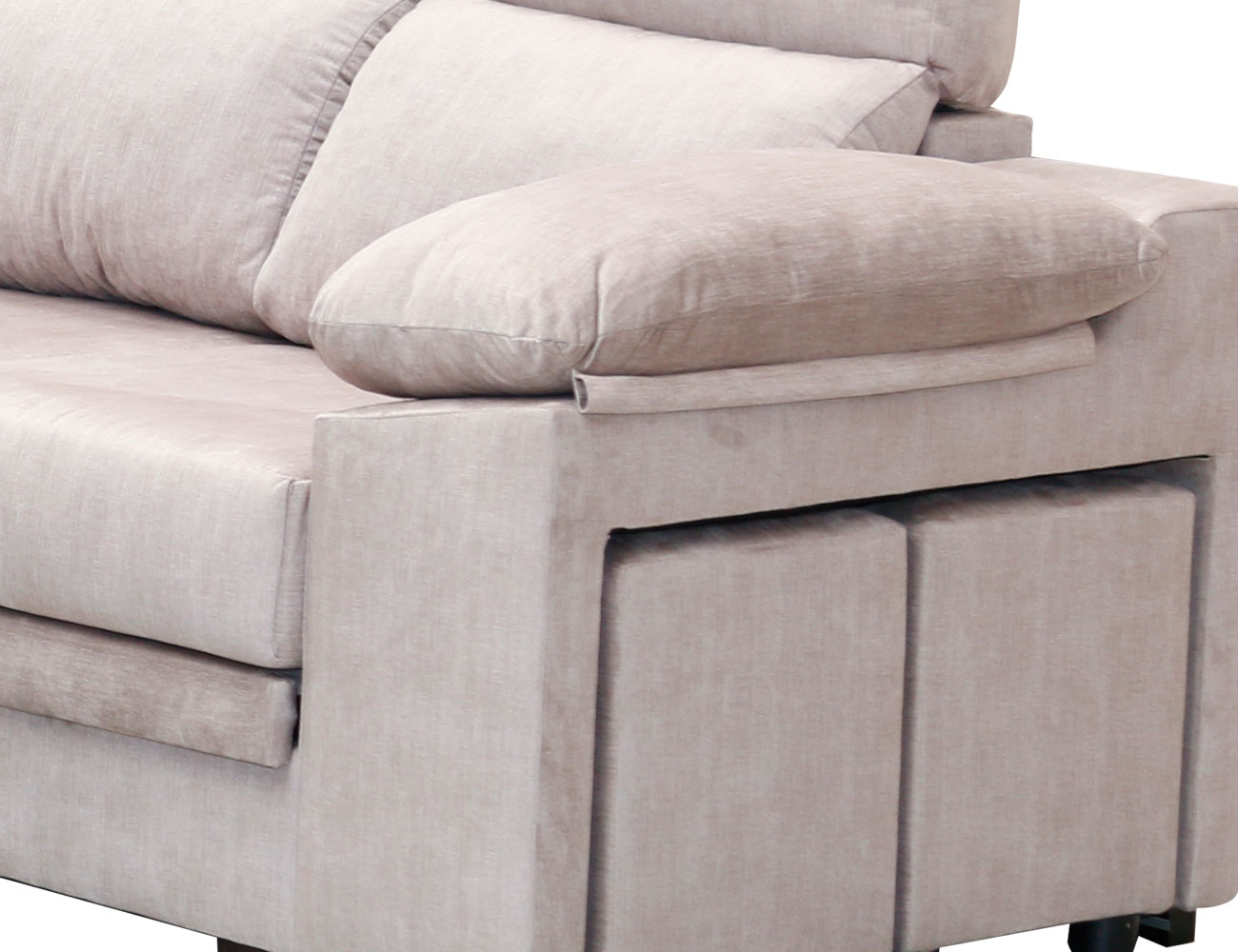 Sofa rincon rinconera beig pufs 4