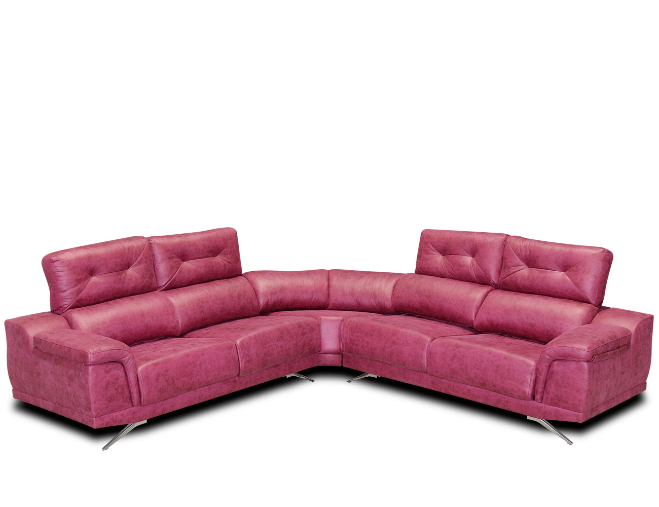 Sofa rinconera tejido antimanchas fucsia rosa 1