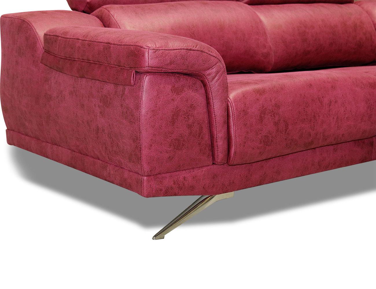 Sofa rinconera tejido antimanchas fucsia rosa 3