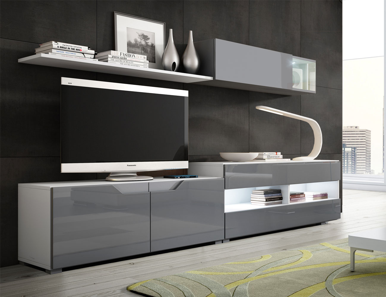 02 mueble salon comedor blanco artico grafito brillo