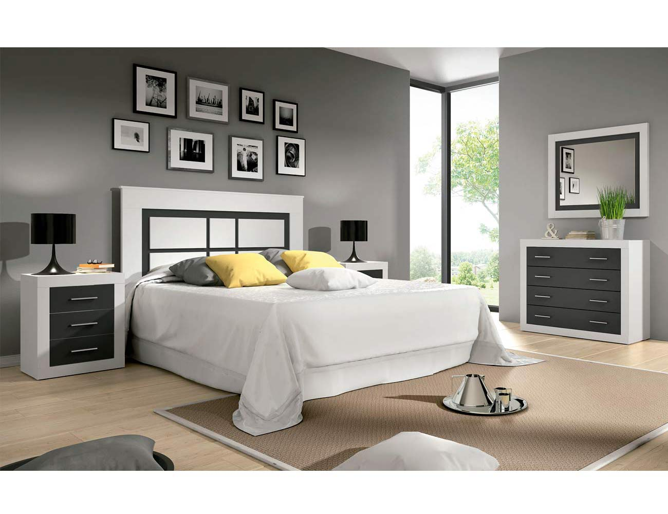 Dormitorio de matrimonio moderno en blanco con grafito for Dormitorio matrimonio blanco
