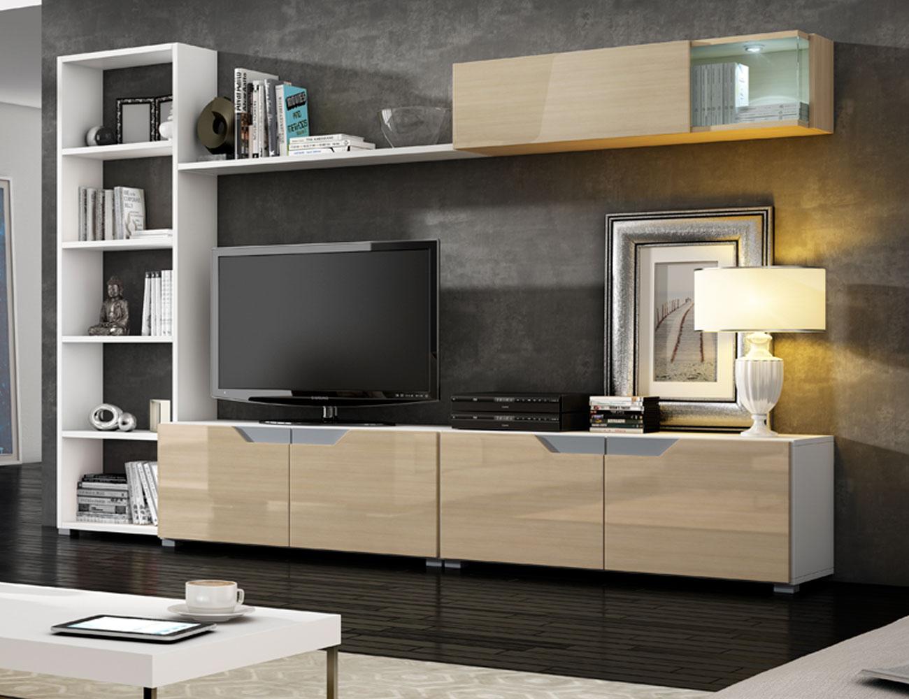 03 mueble salon comedor vitrina estanteria blanco artico arava