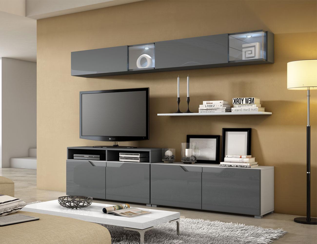 04  mueble salon comedor vitrina tv blanco artico grafito