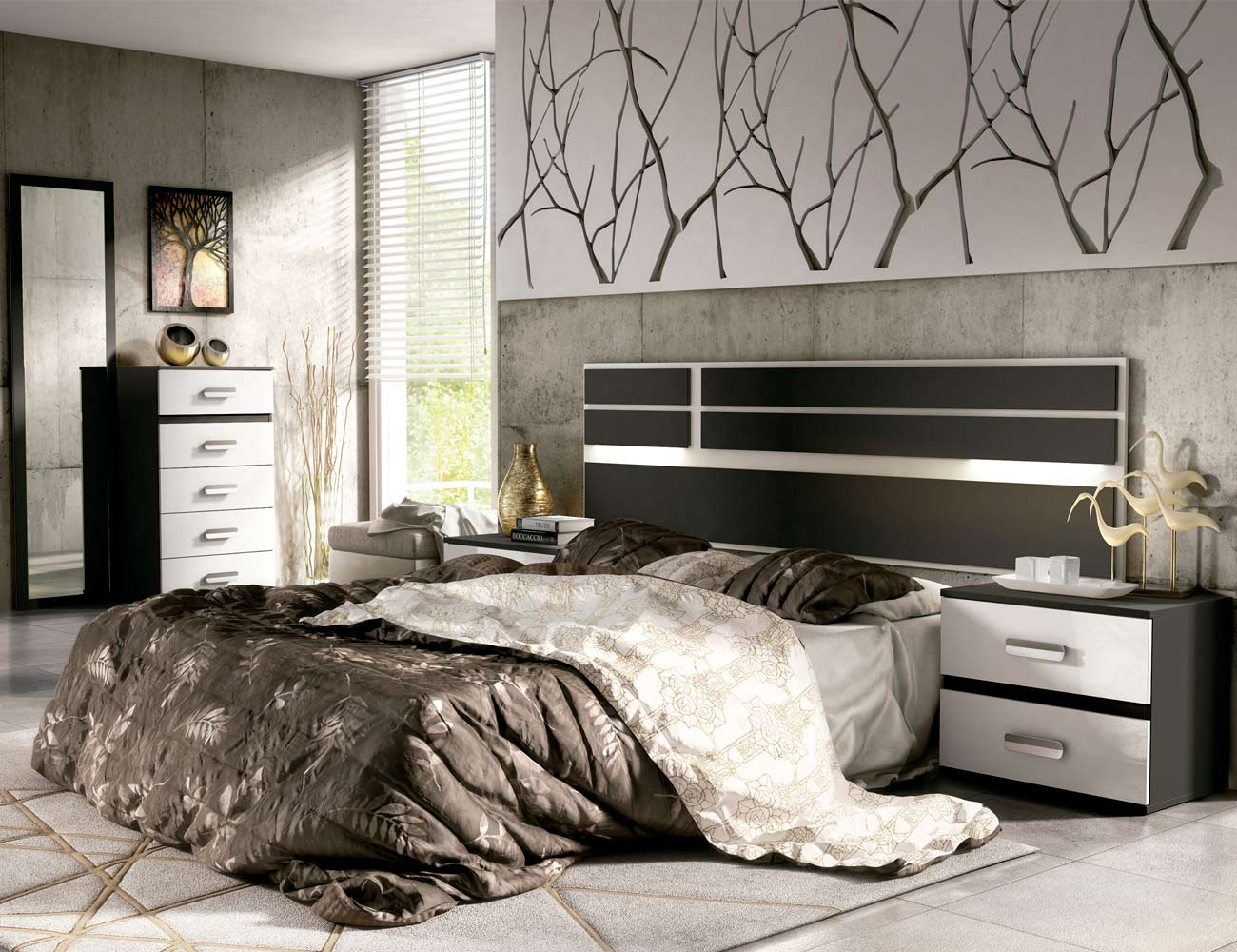04 dormitorio matrimonio cabecero luces leds sinfonier mural grafito blanco