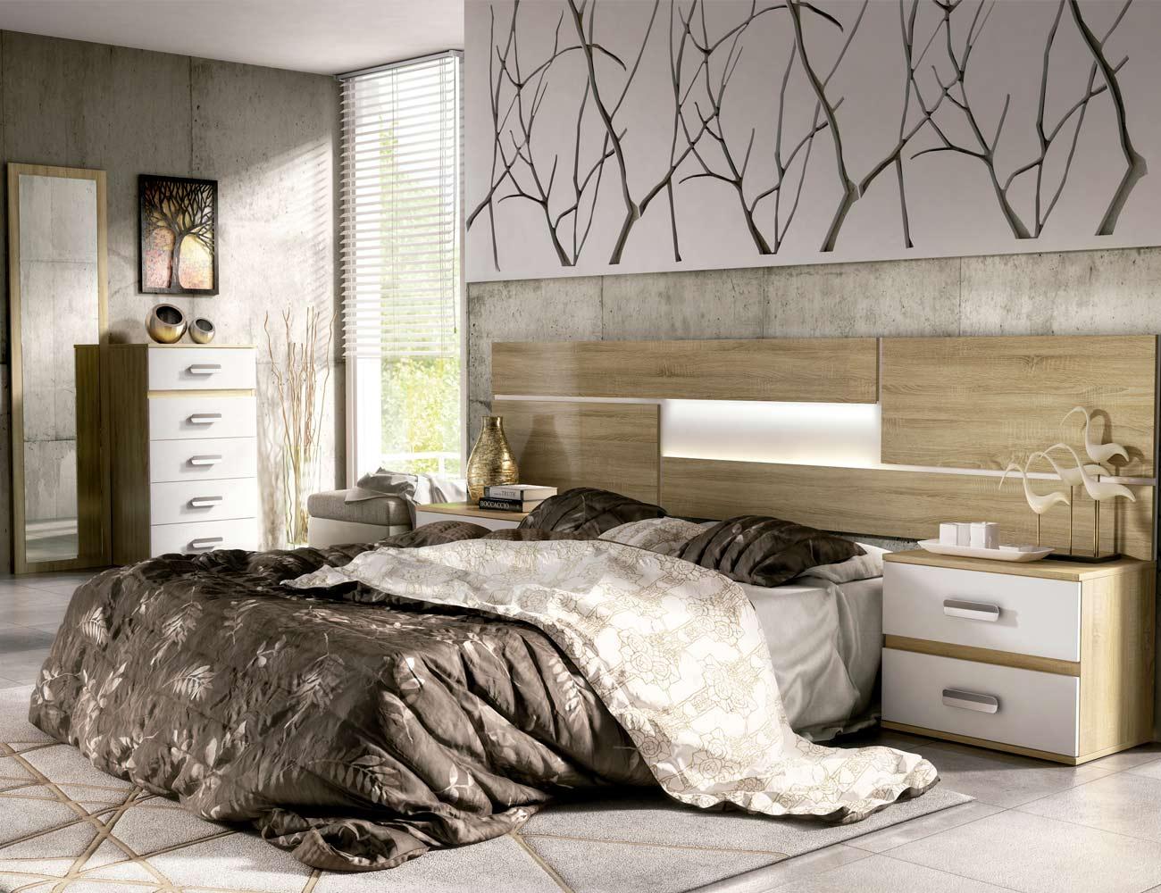 09 dormitorio matrimonio cabecero luces leds sinfonier mural cambrian blanco
