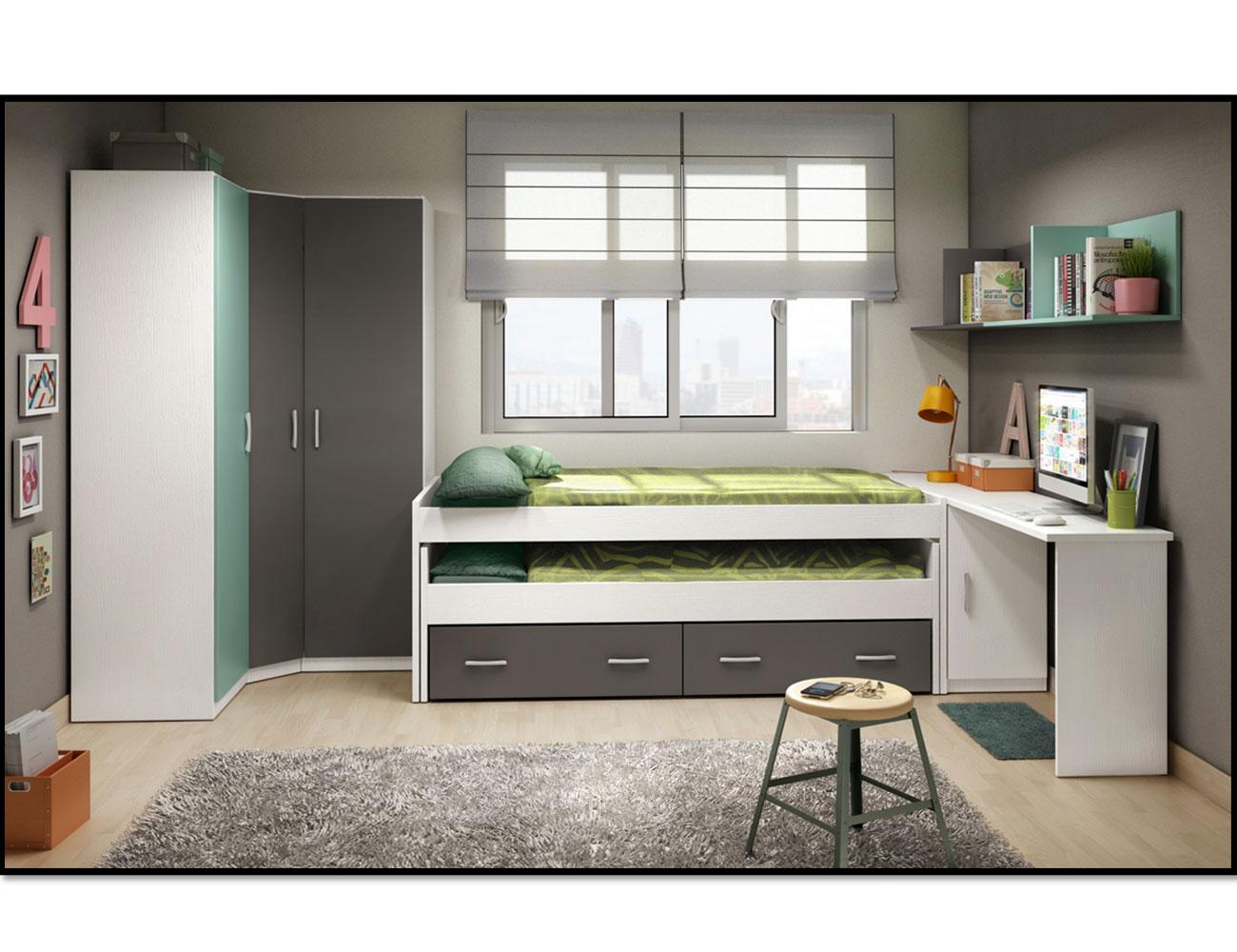 1 dormitorio juvenil cama nido