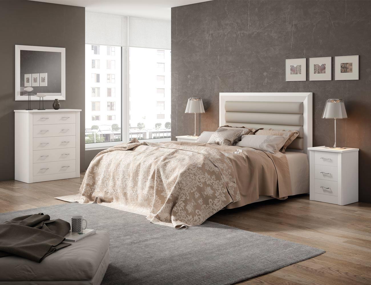 Dormitorio de matrimonio en madera con cabecero tapizado for Muebles blancos dormitorio matrimonio