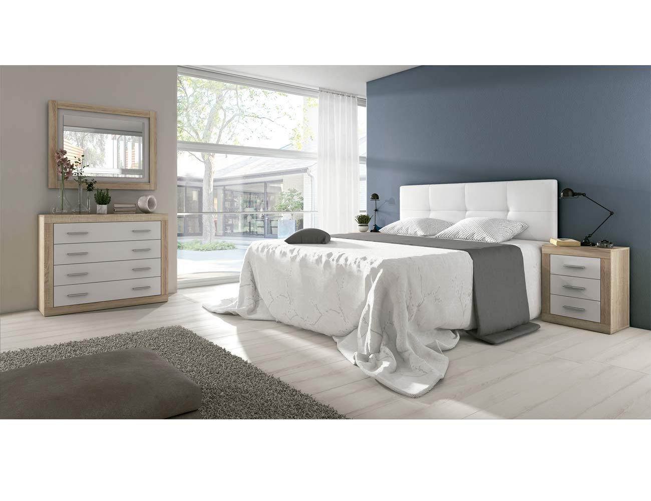 Dormitorio de matrimonio moderno con cabecero en polipiel for Comoda matrimonio