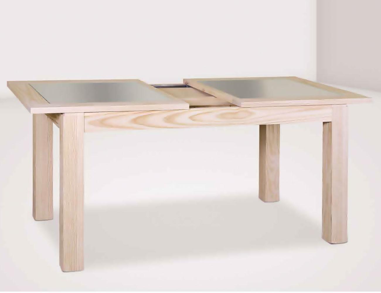Mesa comedor fija 140 cm en madera con tapa cristal en for Mesa comedor cristal y madera