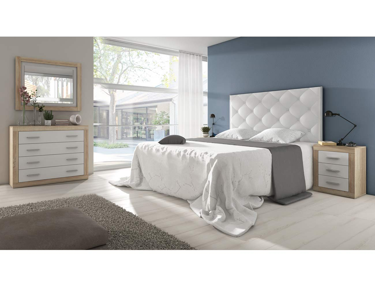 Dormitorio de matrimonio moderno con cabecero en polipiel for Dormitorios de matrimonio blancos