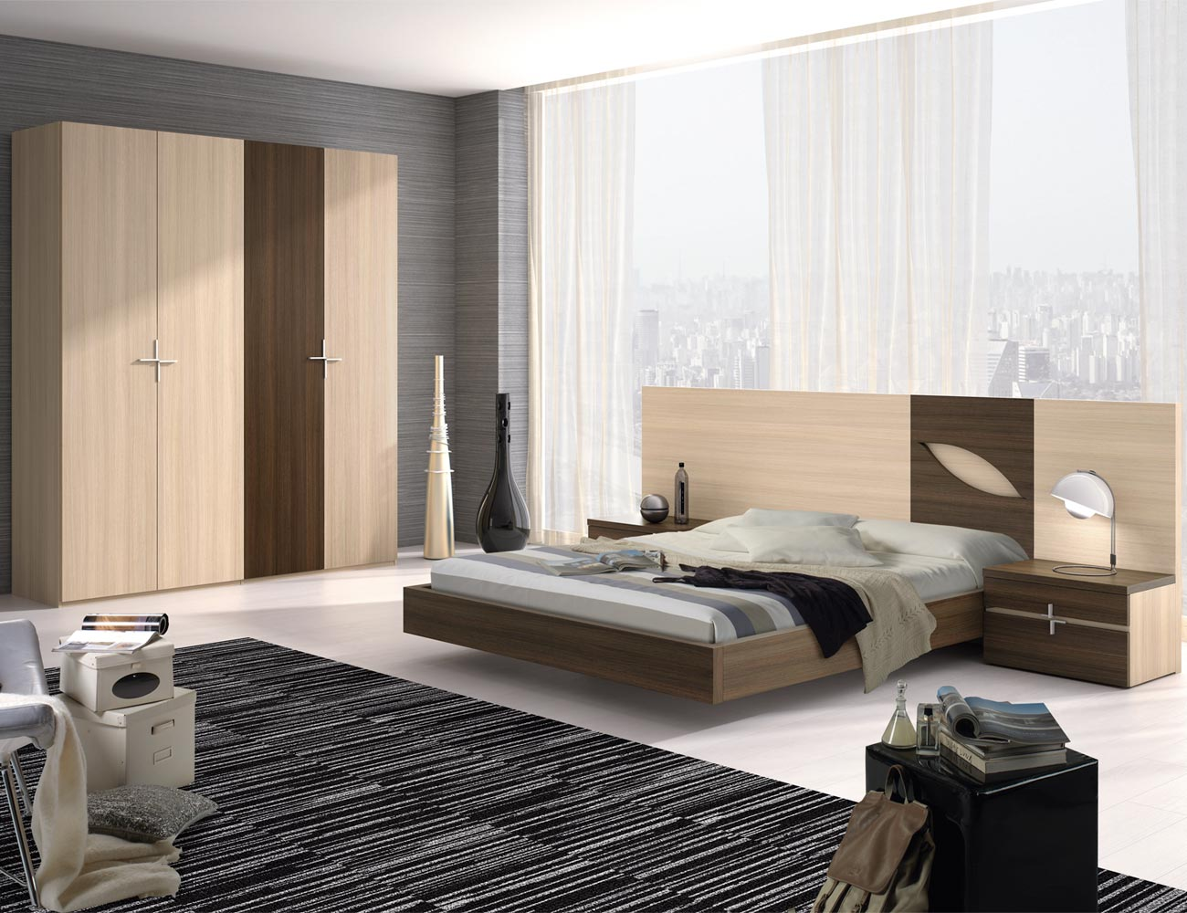 111 dormitorio matrimonio roble armario