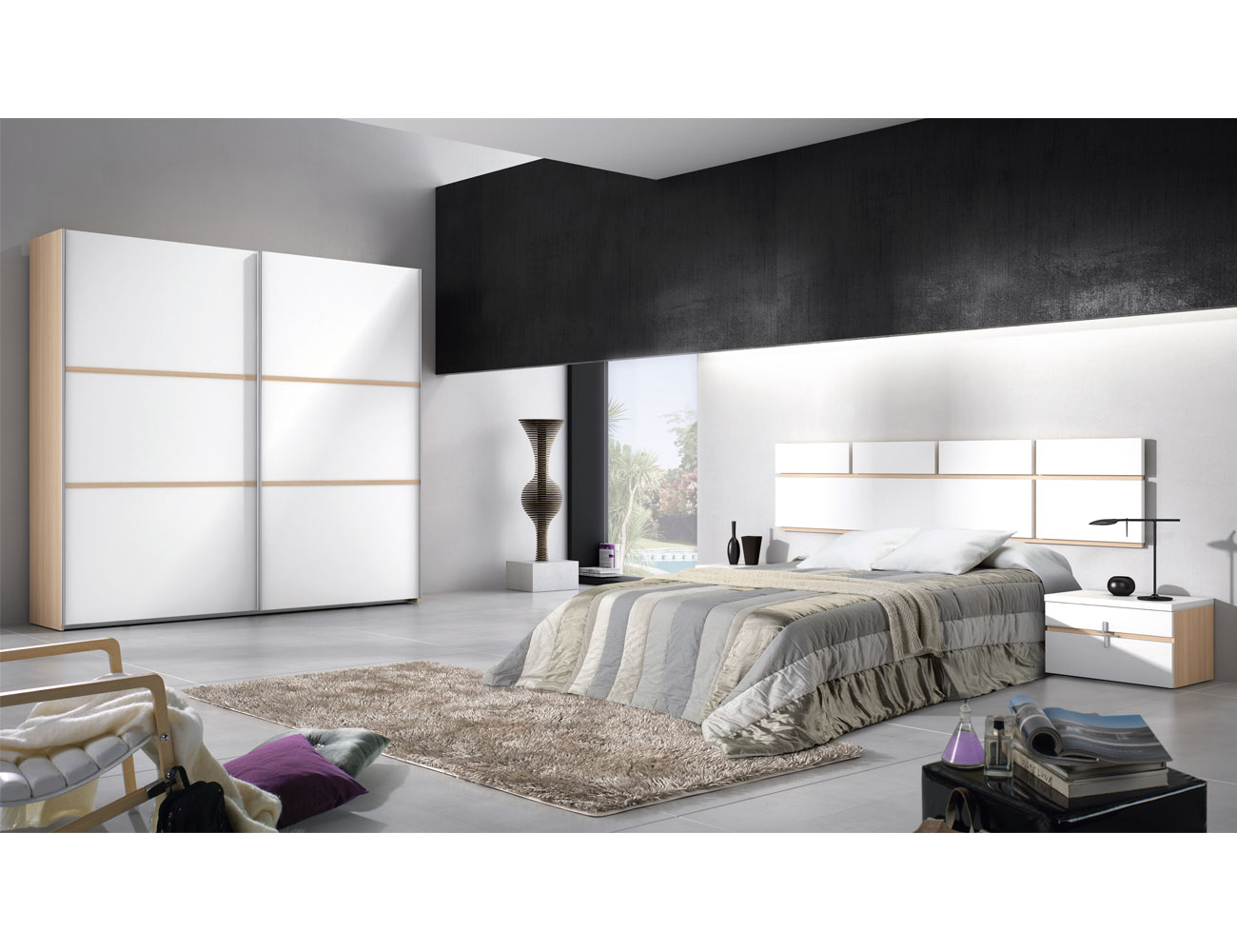 114 dormitorio matrimonio roble blanco armario