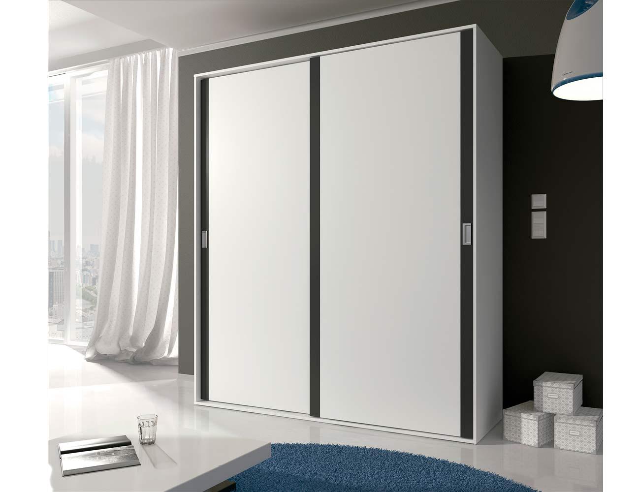 Armario de 2 puertas correderas estilo moderno en blanco con grafito 6302 factory del mueble - Kit puertas correderas armarios ...