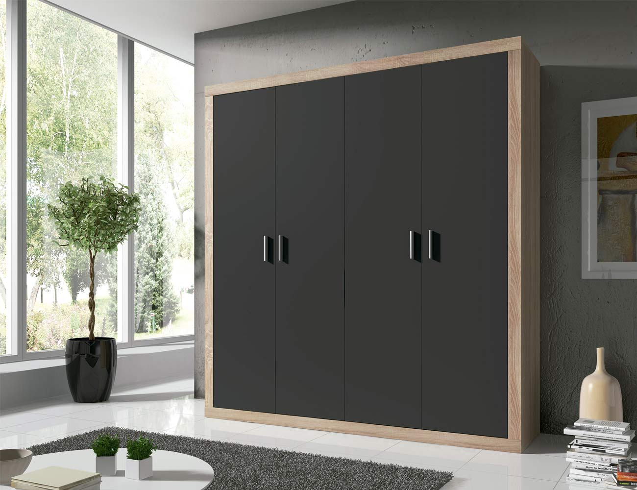 Armario de 4 puertas abatibles estilo moderno en cambrian - Armarios con puertas abatibles ...