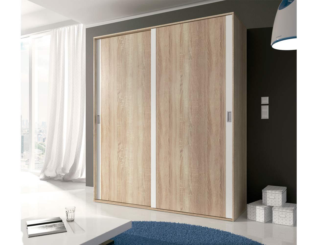 Armario de 2 puertas correderas estilo moderno en cambrian con blanco 6303 factory del - Kit puertas correderas armarios ...