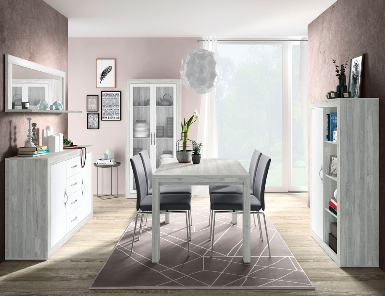 158 salon comedor vitrina aparador modulo 1 puerta mesa artic soul blanco