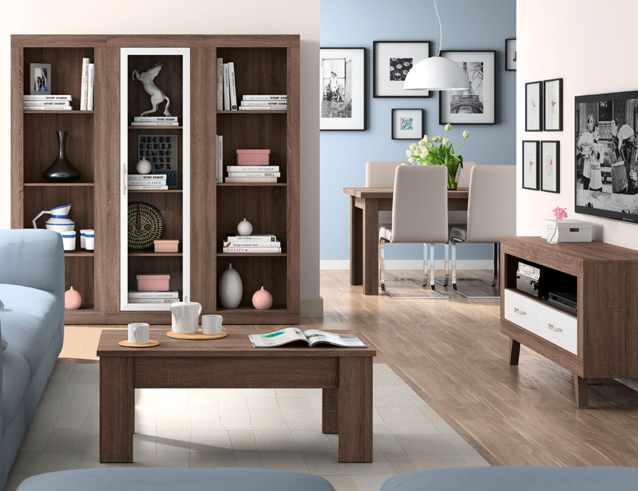 165 mueble vitrina estanteria britannia soul blanco