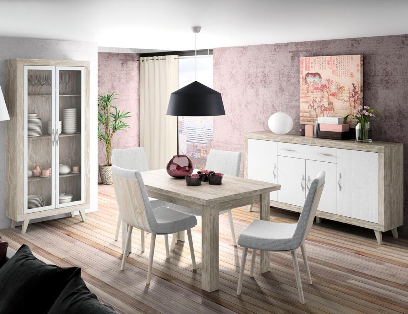 166 mueble salon comedor vitrina aparador mesa silla vintage soul blanco