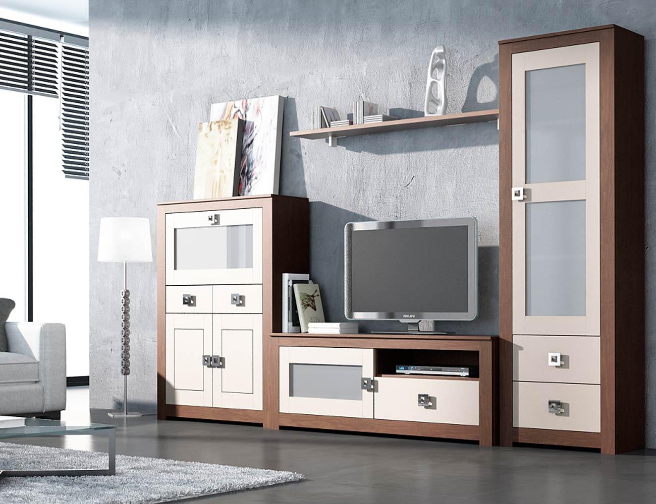 2 mueble salon modular nogal piedra madera dm2