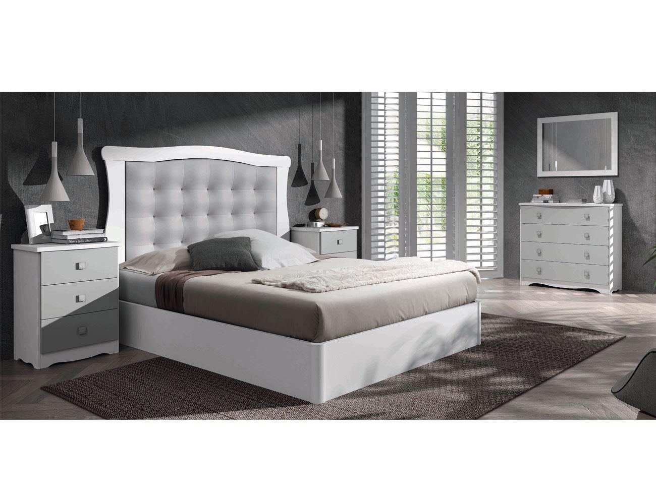 Dormitorio de matrimonio moderno en color nieve y plata - Dormitorio clasico moderno ...