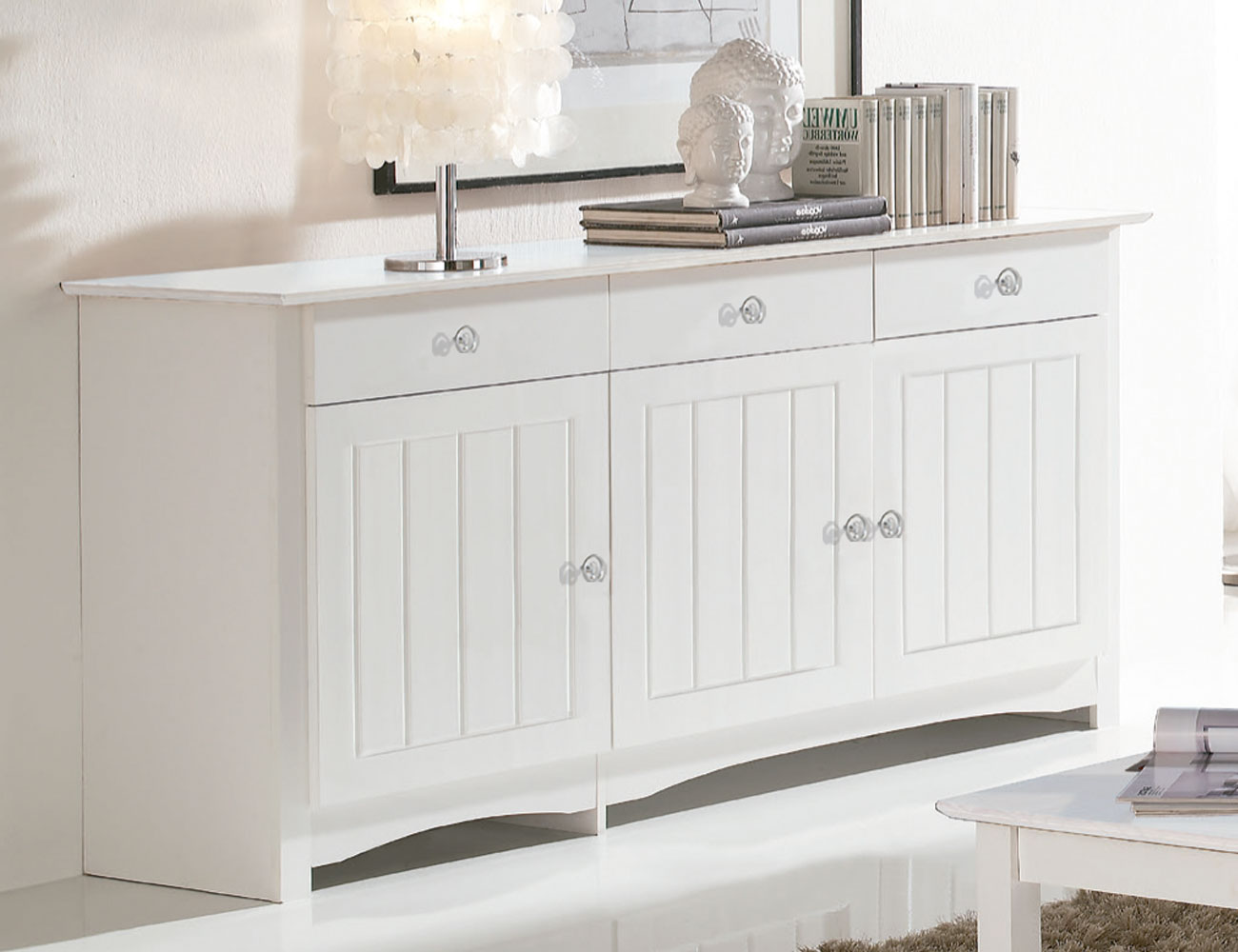 Mueble aparador 3 puertas 3 cajones en madera color blanco lacado 8069 factory del mueble - Factory del mueble utrera ...