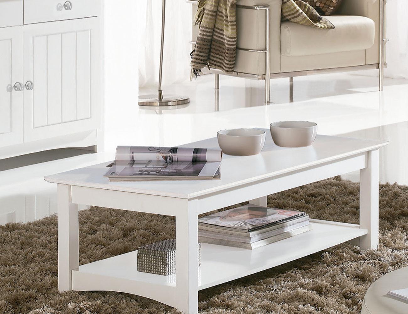 Mesa centro comedor elevable en madera color blanco lacado (8070 ...
