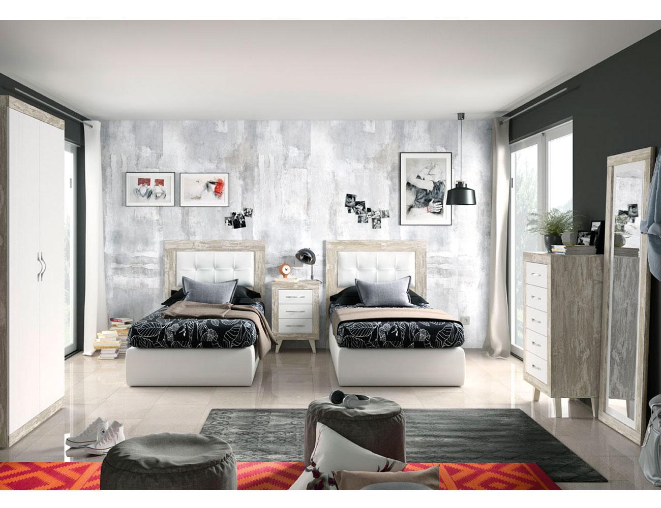 271 dormitorio juvenil vintage soul tapizado blanco