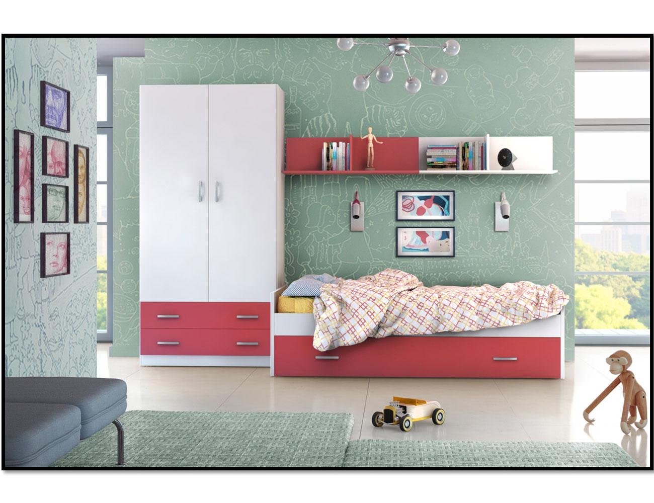 Dormitorio juvenil con cama nido con frontal y somier de for Cama nido dormitorio juvenil