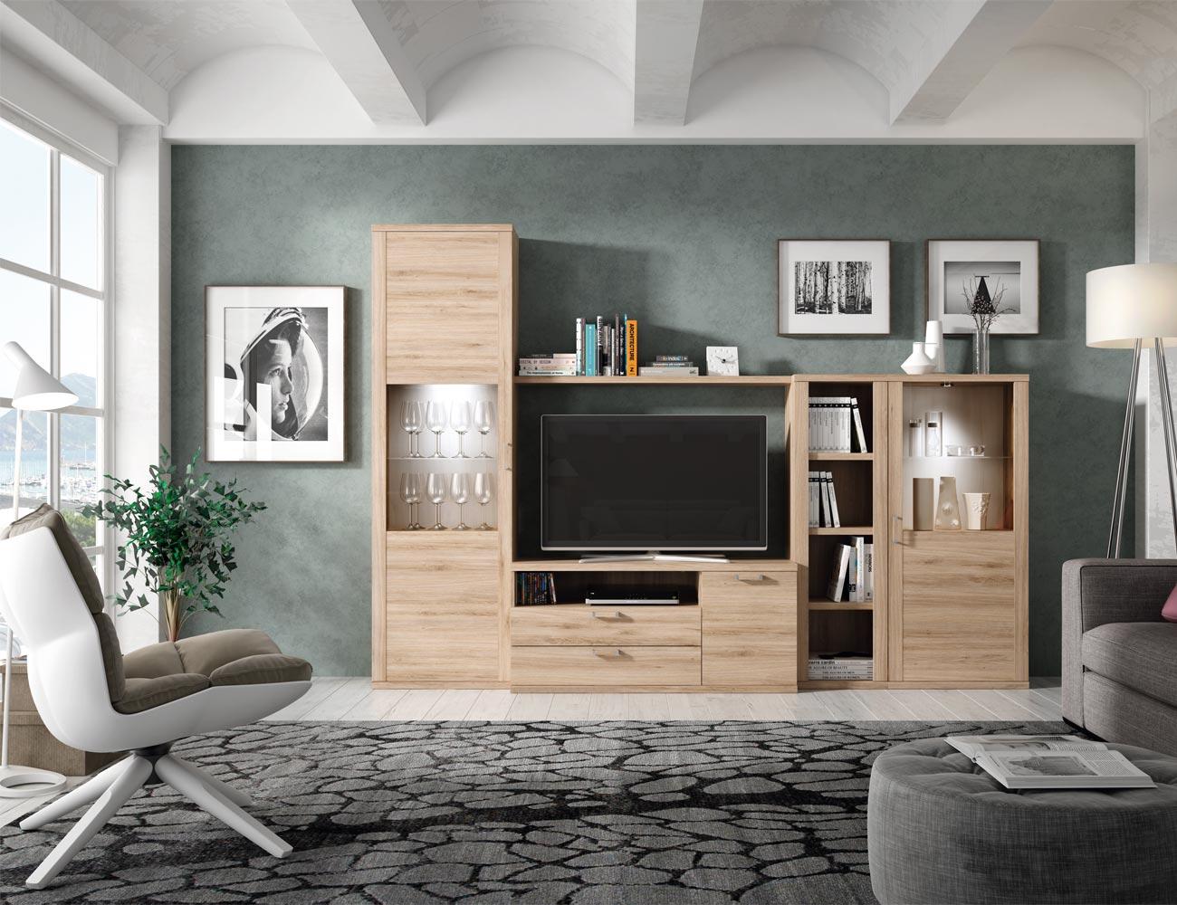 401 mueble salon comedor vitrinas tv roble natural polar