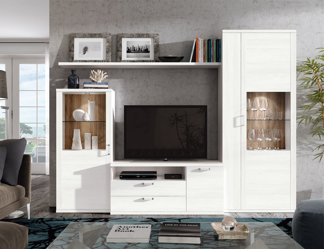 403 mueble salon comedor vitrinas polar roble natural