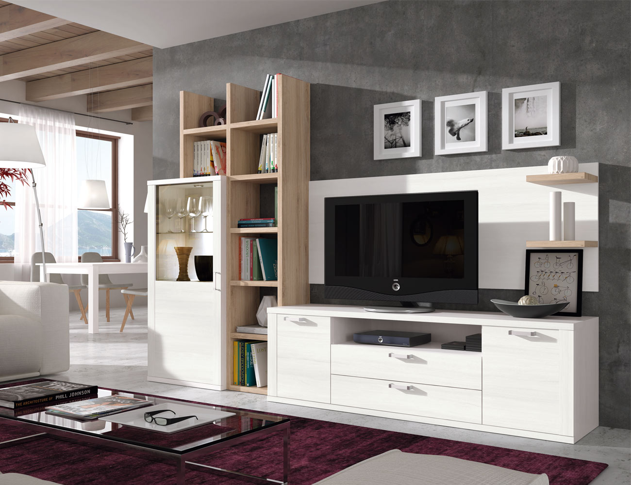 410 mueble salon comedor vitrina tv polar roble natural