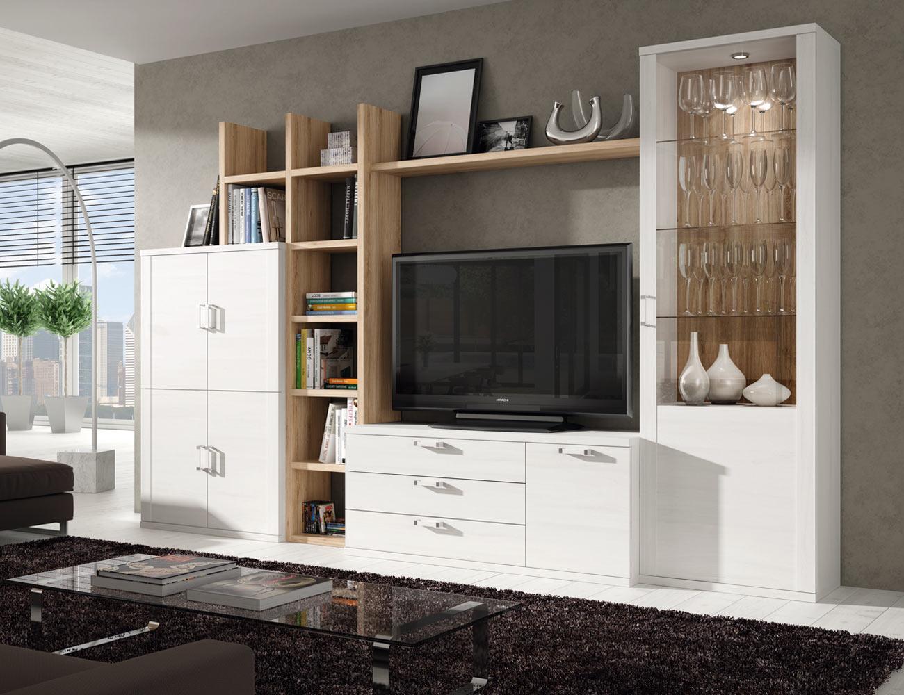 414 mueble salon comedor estanteria bodeguero tv polar roble natural