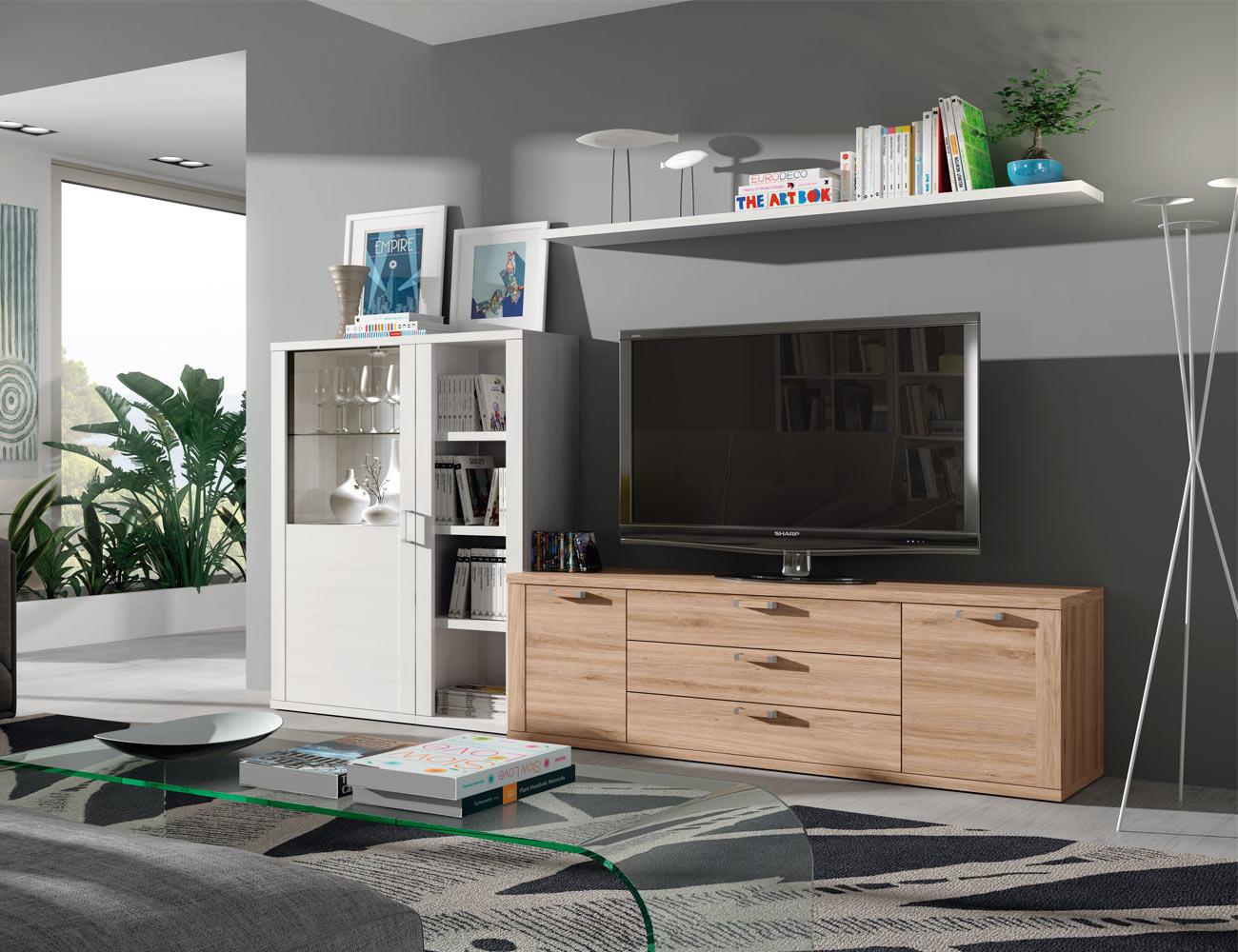 415 mueble salon comedor estanteria vitrina cristal bodeguero polar roble natural