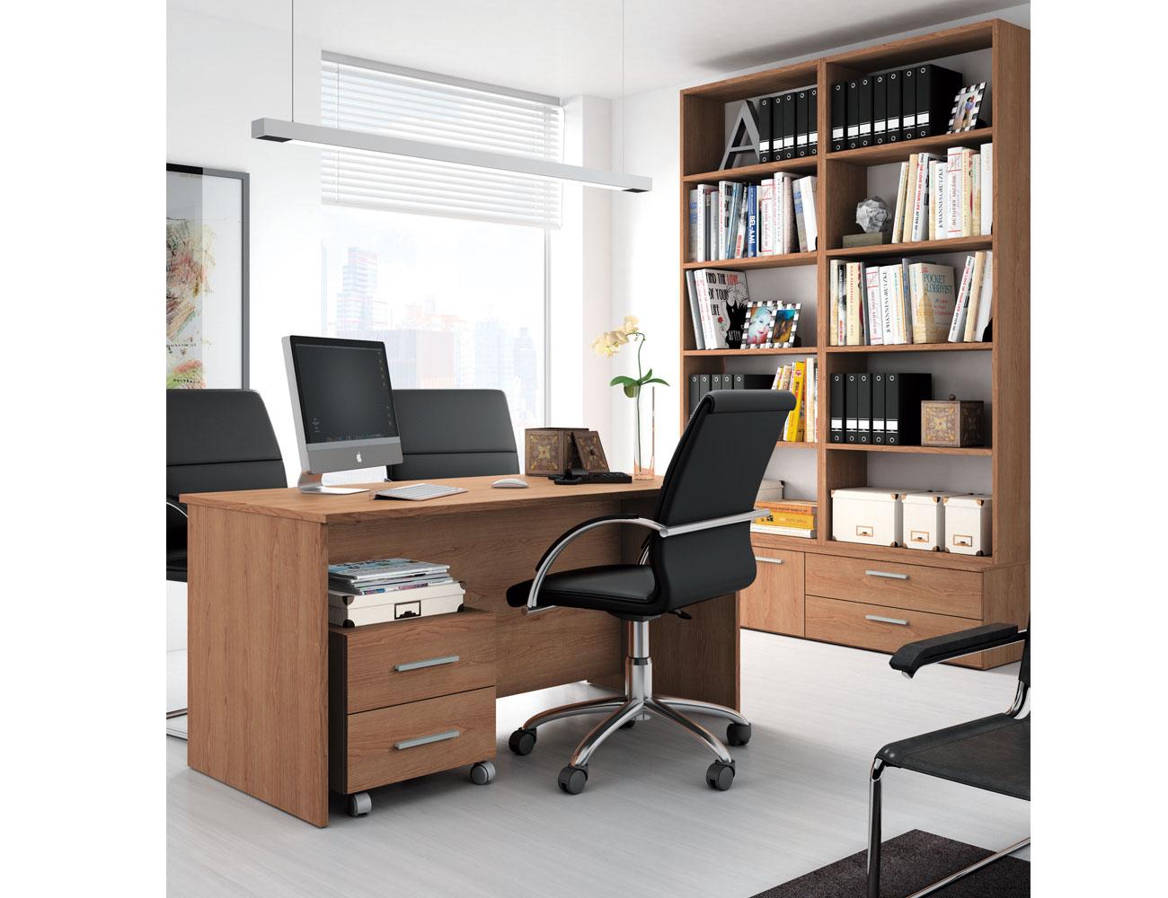 Muebles de oficina o despachos en color nogal con mesa y for Muebles de oficina volumen