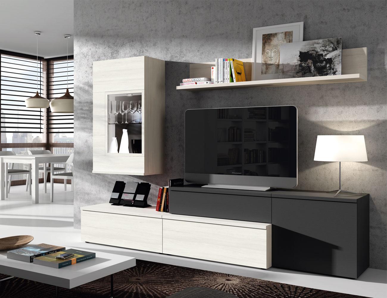 603 mueble salon comedor leds polar antracita