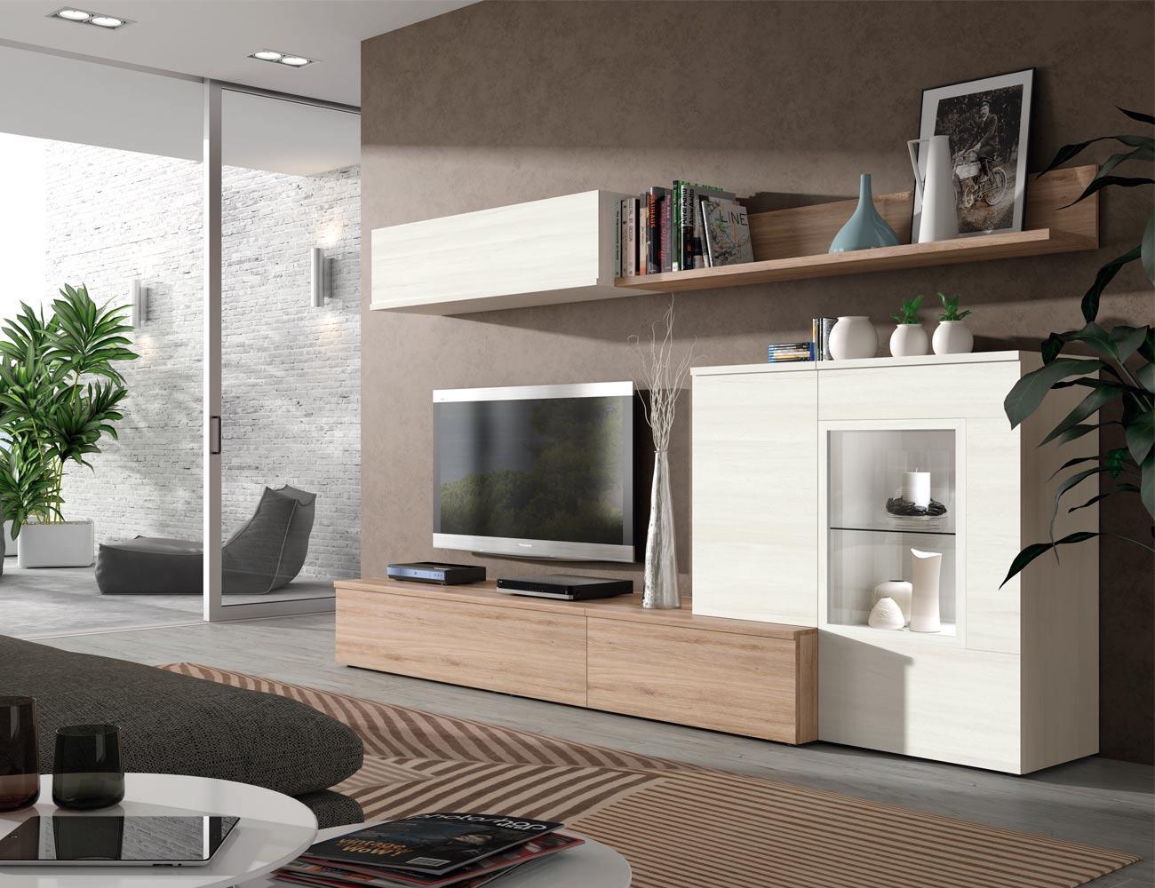 605 mueble salon comedor roble natural polar focos leds