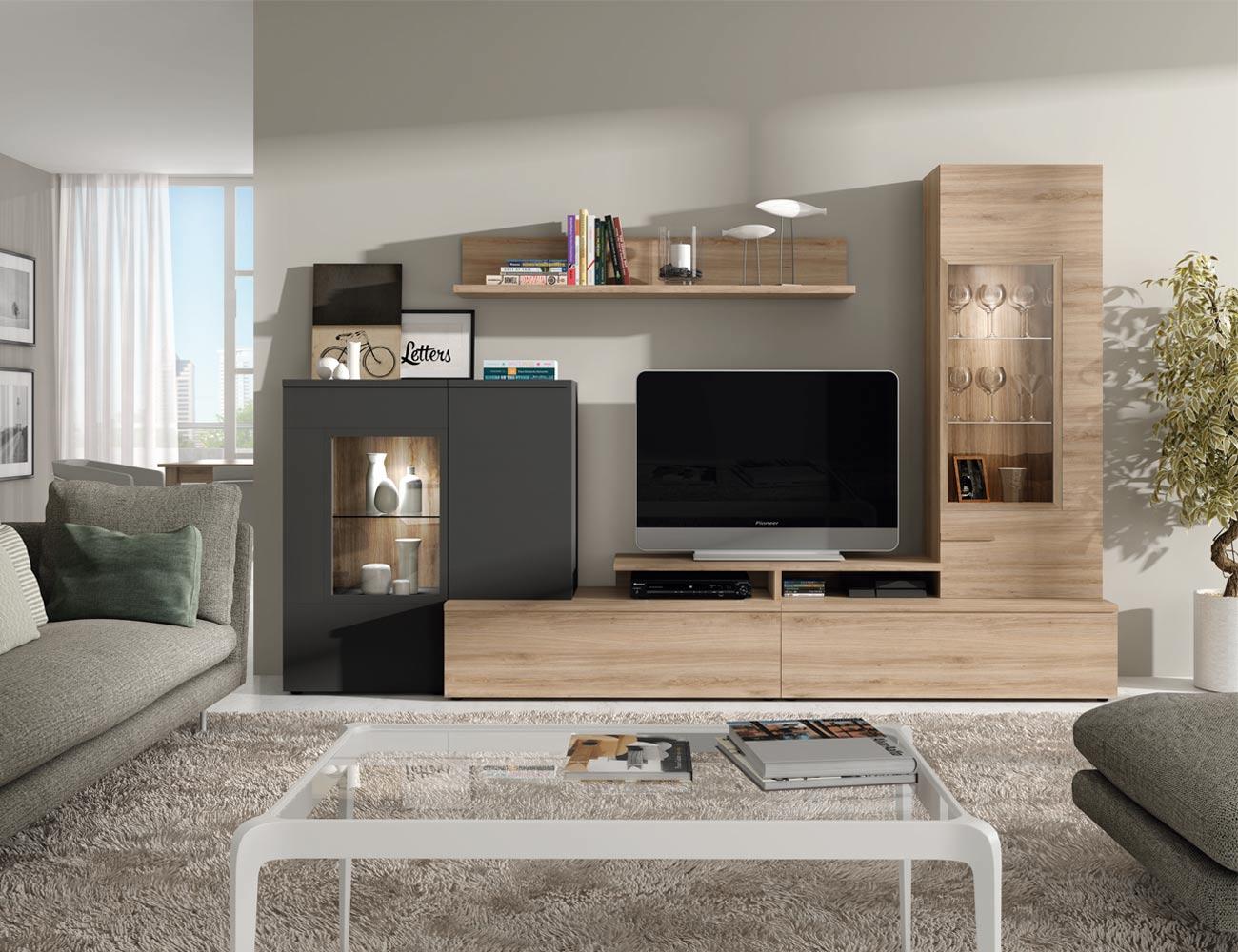 606 mueble salon comedor roble natural antracita foco leds