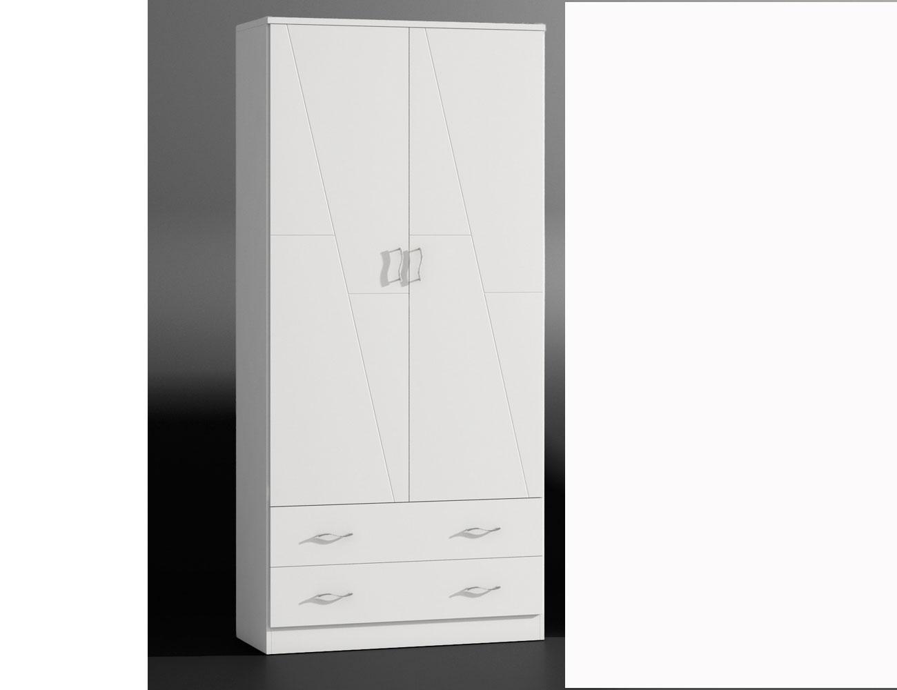 armario 2 puertas en madera en color blanco lacado 8050