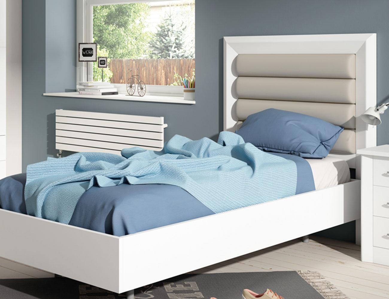 80105 cabecero tapizado madera blanco lacado