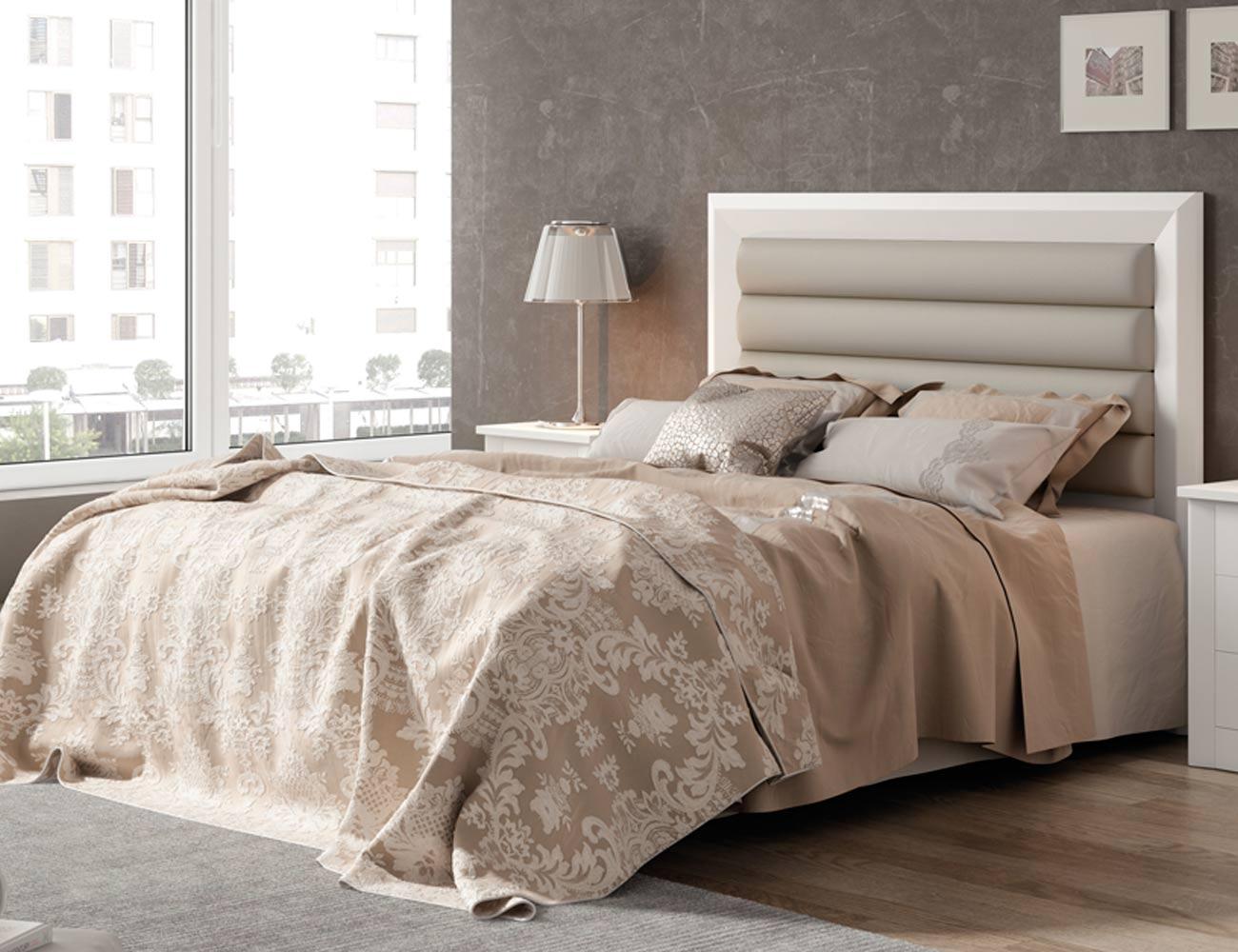 80150 cabecero tapizado 150 cm blanco lacado madera dm