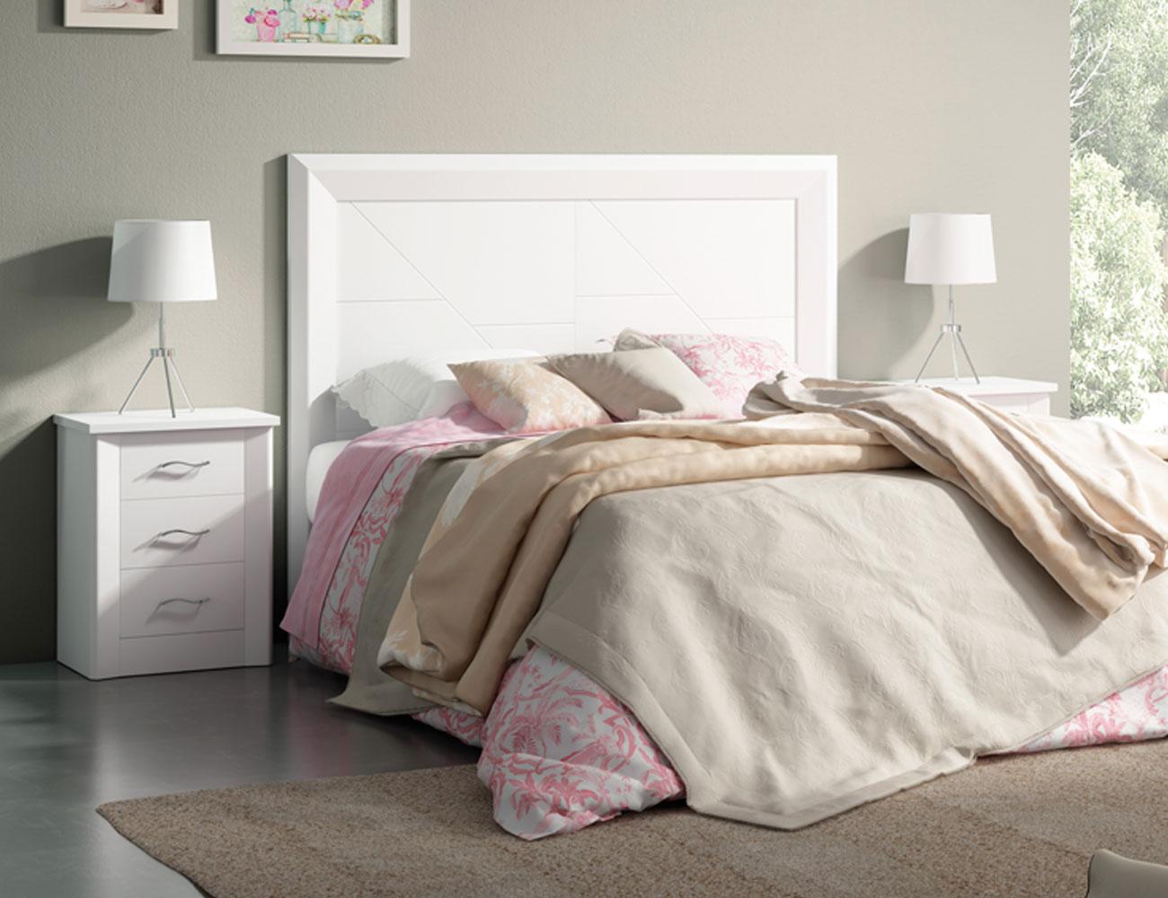 Dormitorio de matrimonio en madera con cabecero tapizado - Cabeceros de madera blanco ...