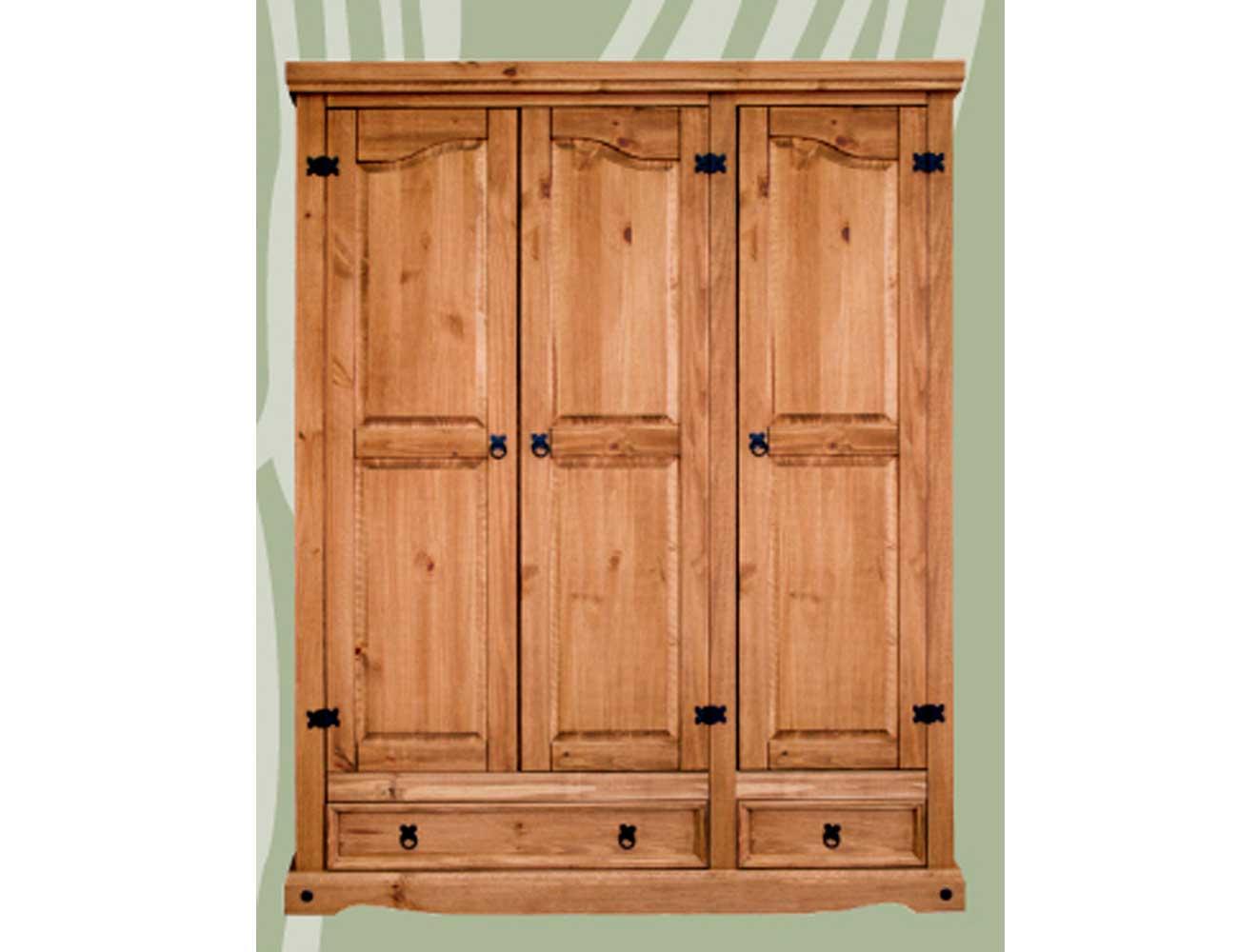 Armario 3 puertas 2 cajones madera