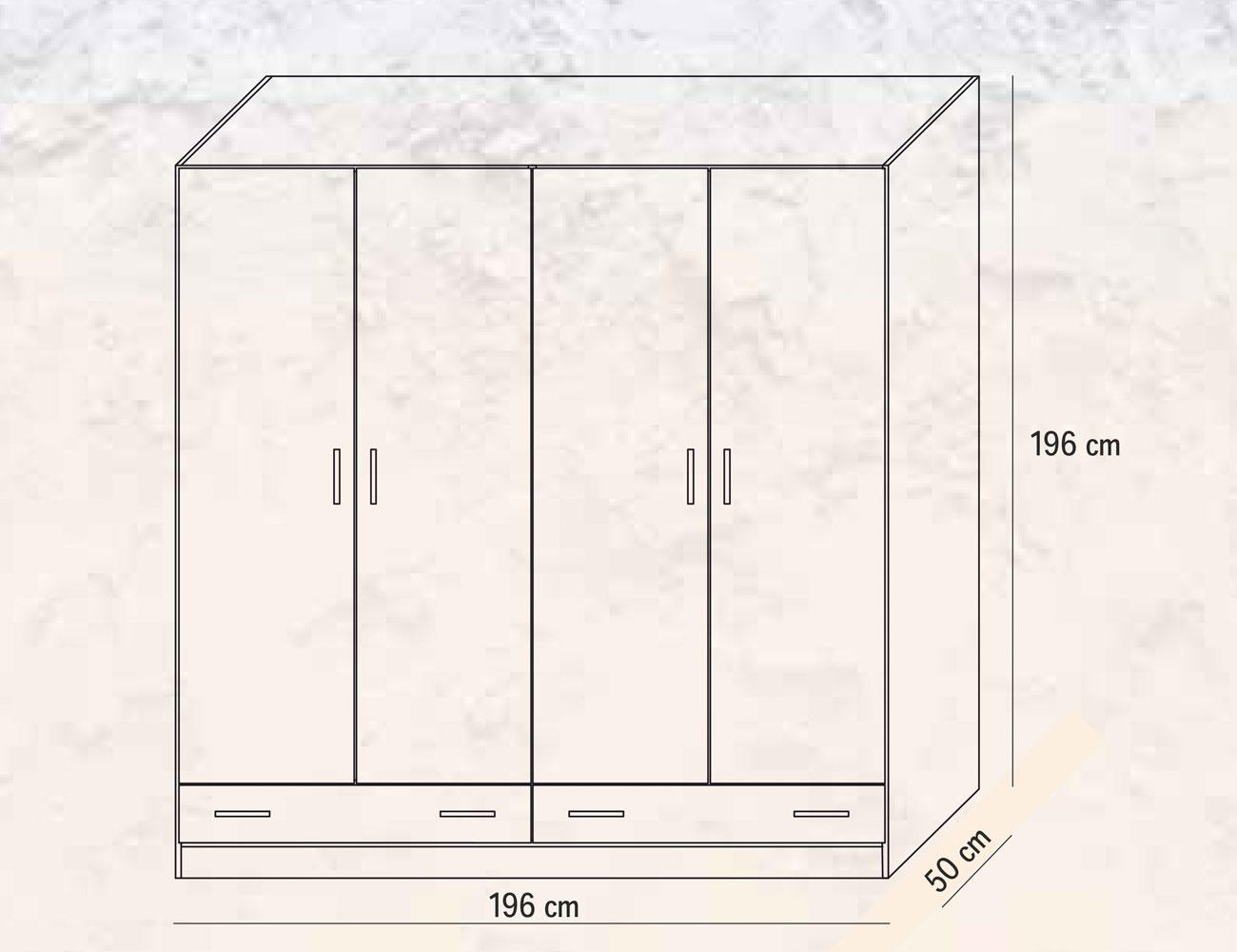 Armario 4 puertas 2 cajones 196 cm2