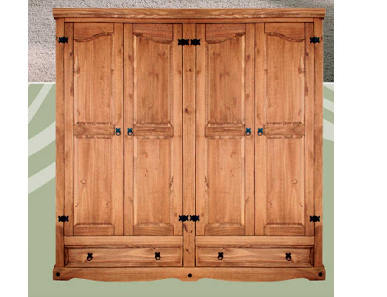 Armario 4 puertas 2 cajones madera