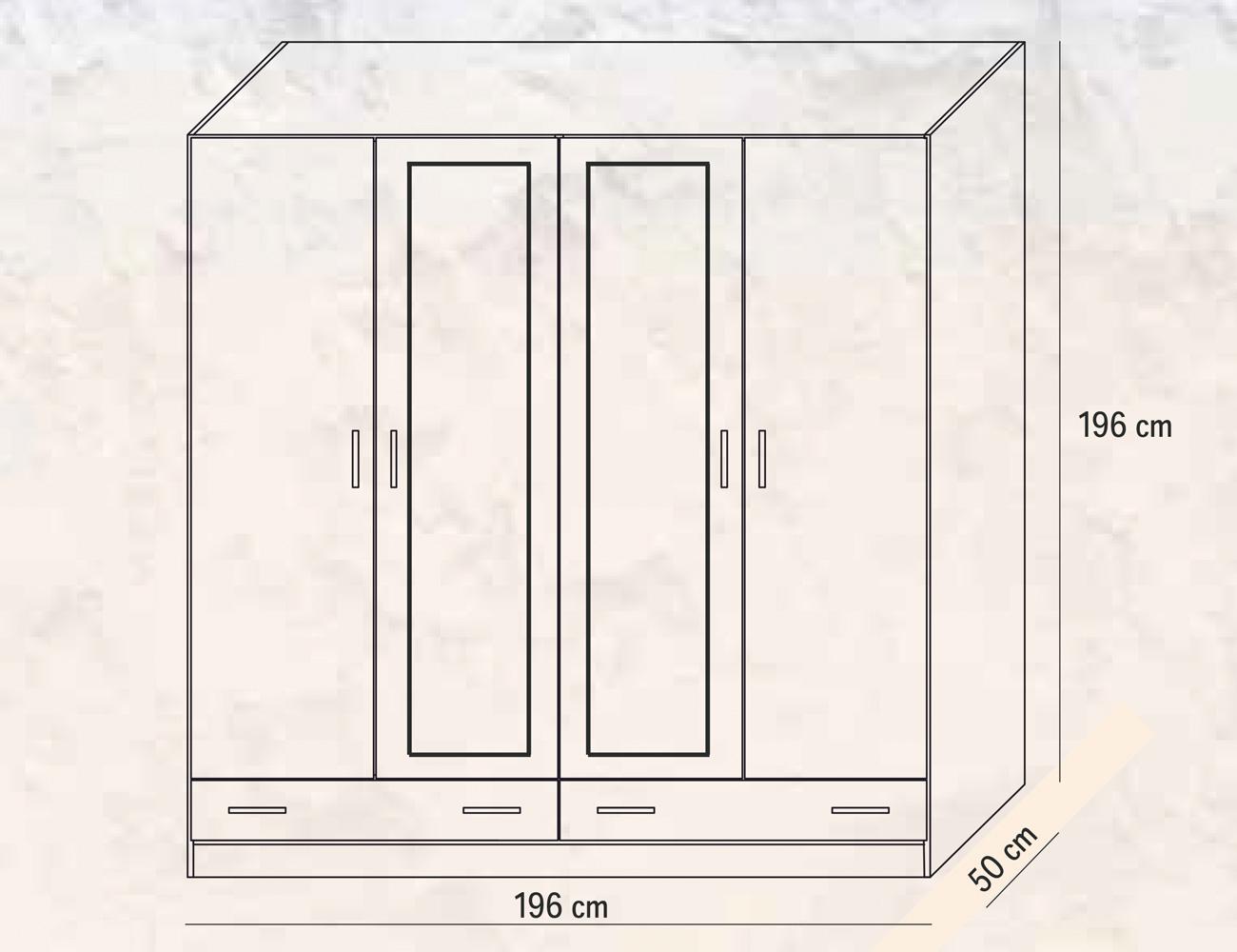 Armario 4 puertas 2 lunas 2 cajones 196 cm