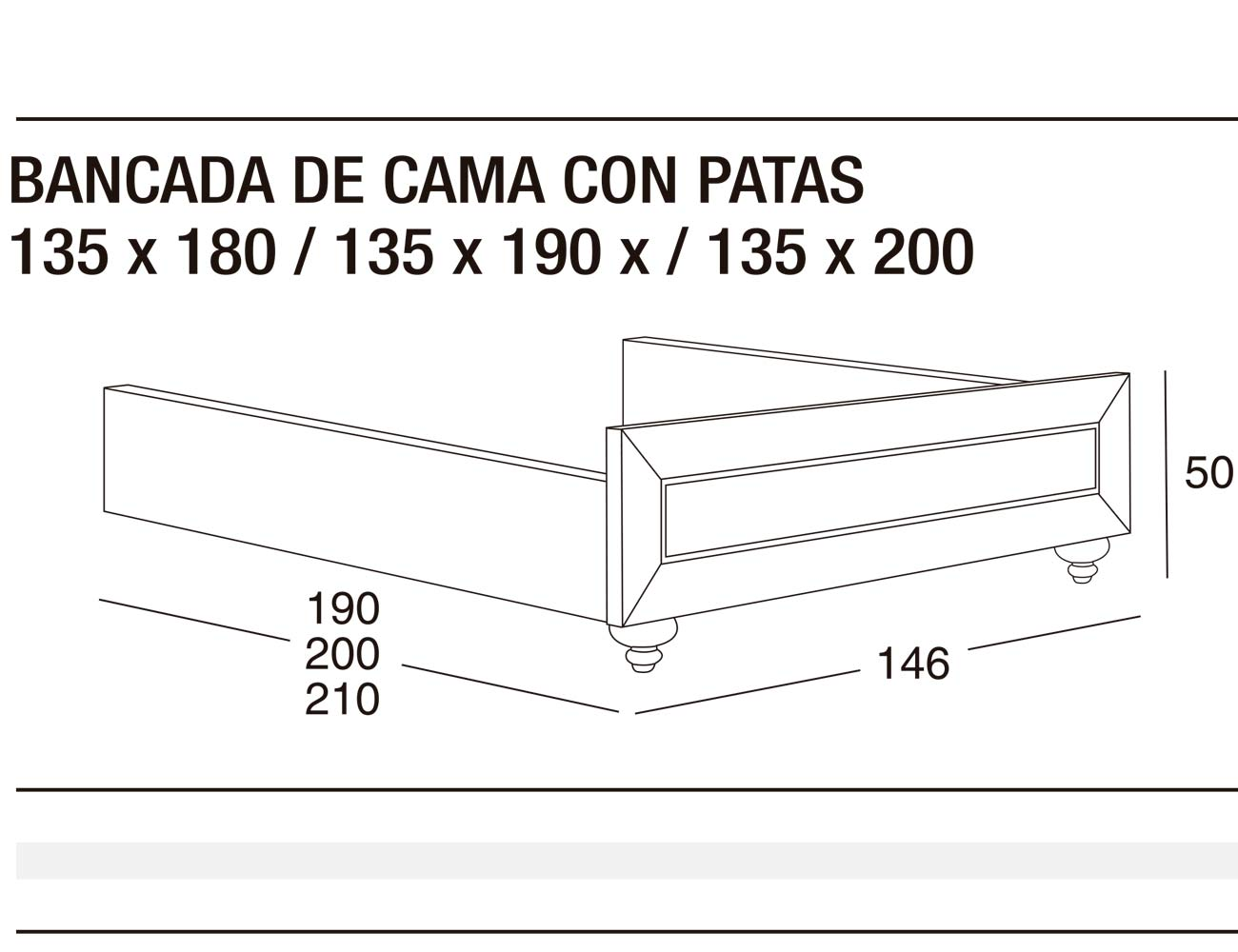 Bancada cama p 135x180 135x190 135x200