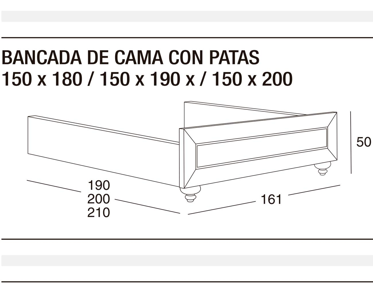Bancada cama p 150x180 150x190 150x200