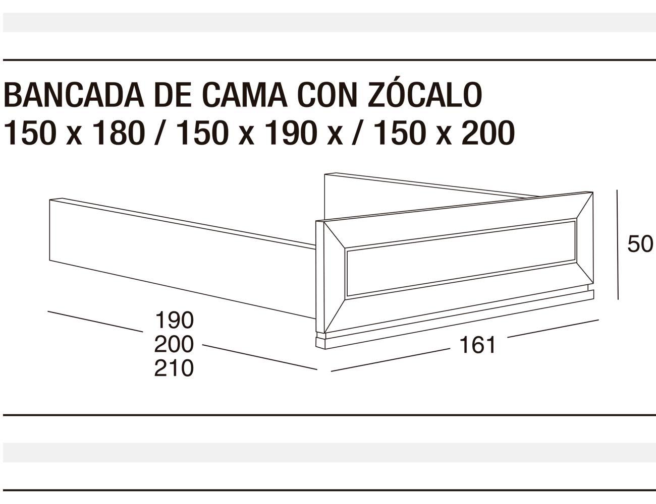 Bancada cama z 150x180 150x190 150x200